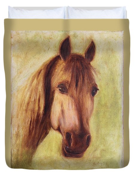 Duvet Cover featuring the painting A Fine Horse by Xueling Zou