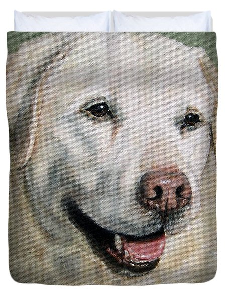 A Fine Old Lady Yellow Labrador Portrait Duvet Cover