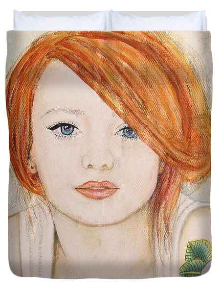 Duvet Cover featuring the painting A Fire In The Soul by Malinda  Prudhomme