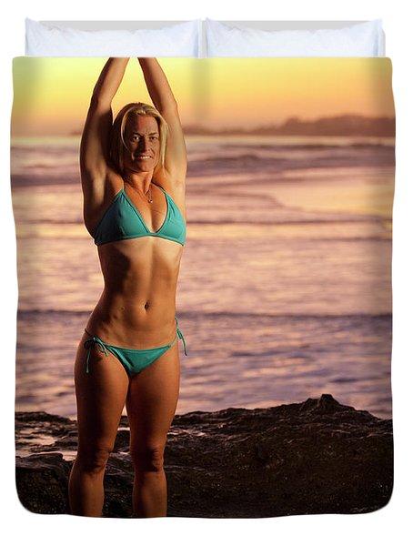 A Fit Blonde Woman In A Bikini Duvet Cover