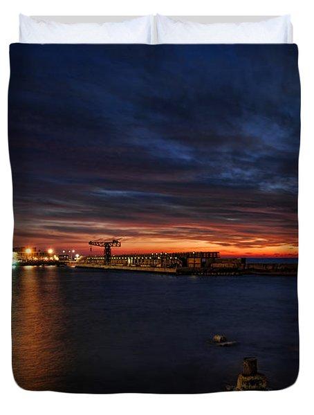 a flaming sunset at Tel Aviv port Duvet Cover