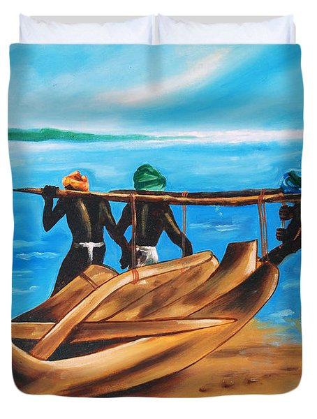 Duvet Cover featuring the painting A Float On The Ocean by Ragunath Venkatraman
