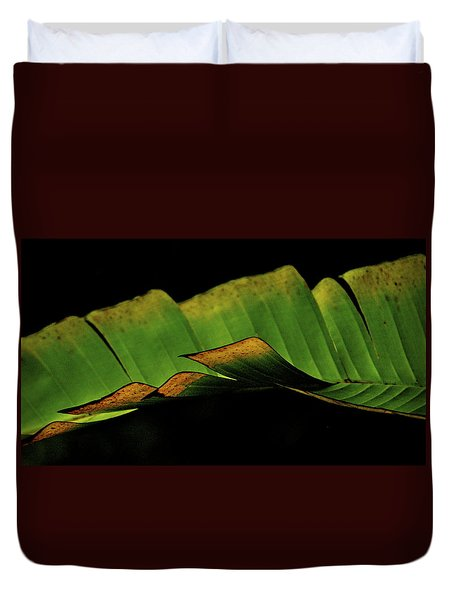 A Floating Heliconia Leaf Duvet Cover