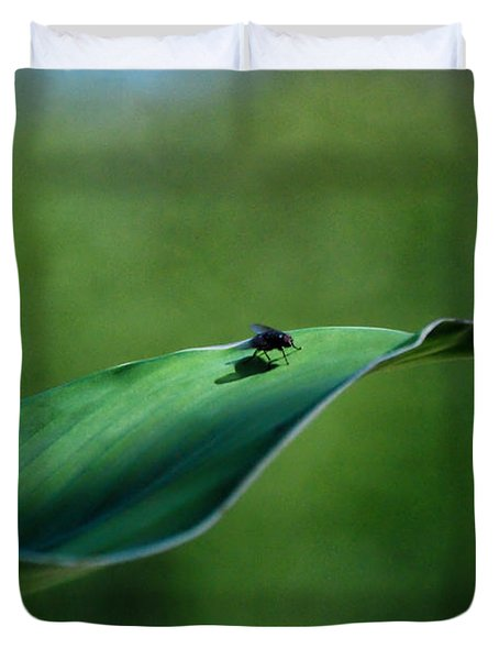 Duvet Cover featuring the photograph A Fly And His Shadow by Thomas Woolworth