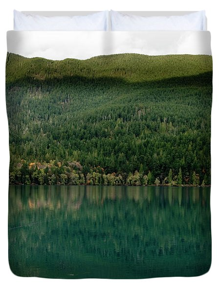 A Fly Fisherman Cast His Line Into Lake Duvet Cover