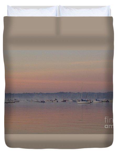 A Foggy Fishing Day Duvet Cover by John Telfer