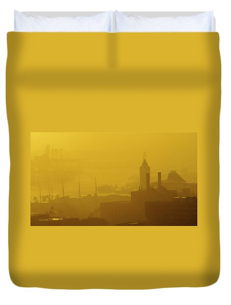 A Foggy Golden Sunset In Honolulu Harbor Duvet Cover
