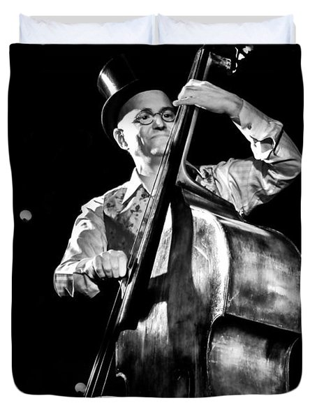 Duvet Cover featuring the photograph A French Contrabass Player by Stwayne Keubrick