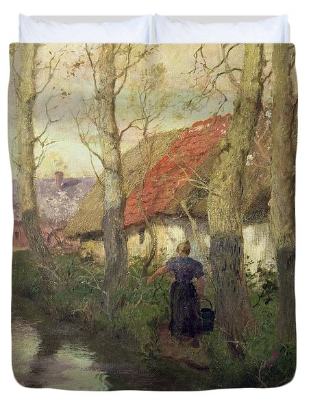 A French River Landscape With A Woman By Cottages Duvet Cover by Fritz Thaulow
