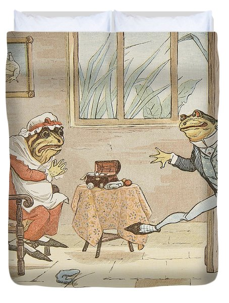 A Frog He Would A Wooing Go Duvet Cover by Randolph Caldecott