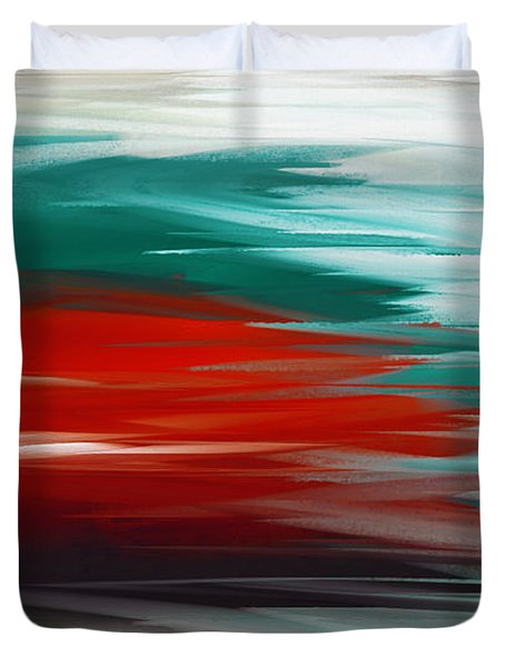 A Frozen Sunset Abstract Duvet Cover by Andee Design