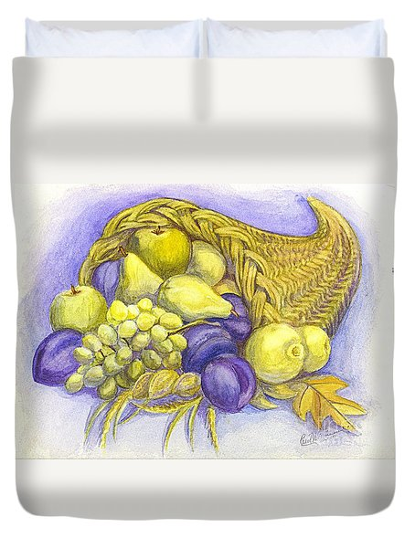 Duvet Cover featuring the painting A Fruitful Horn Of Plenty by Carol Wisniewski