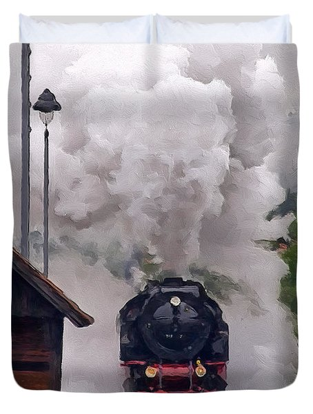 A Full Head Of Steam Duvet Cover by Michael Pickett