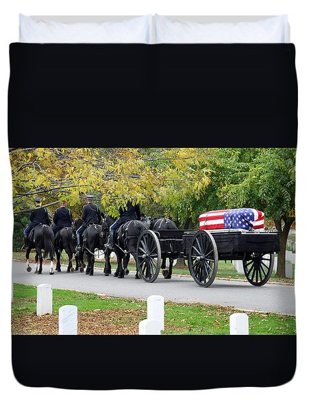Duvet Cover featuring the photograph A Funeral In Arlington by Cora Wandel