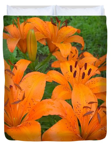 A Garden Full Of Lilies Duvet Cover