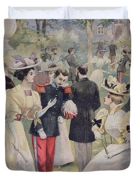 A Garden Party At The Elysee Duvet Cover by Fortune Louis Meaulle