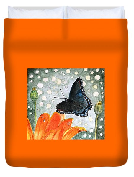 Duvet Cover featuring the painting A Garden Visitor by Angela Davies
