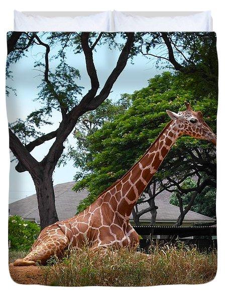 A Giraffe Rests In Honolulu Duvet Cover