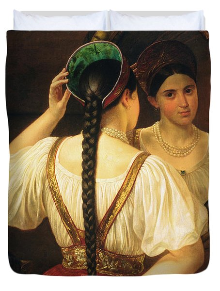 A Girl At The Mirror, 1848 Oil On Canvas Duvet Cover