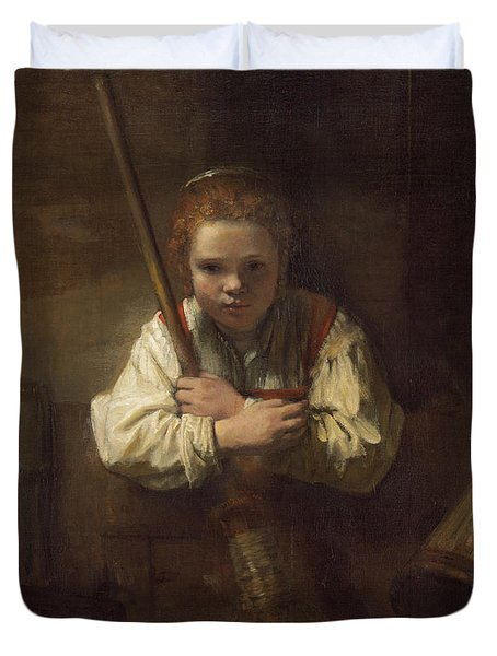 A Girl With A Broom Duvet Cover by Rembrandt