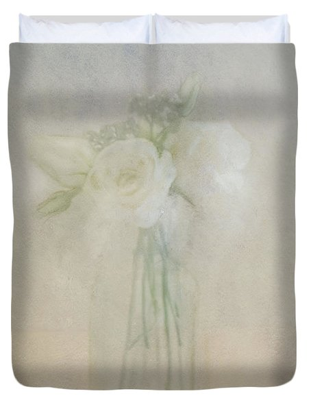 Duvet Cover featuring the photograph A Glimpse Of Roses by Annie Snel