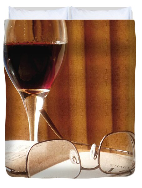 A Good Book And A Glass Of Wine Duvet Cover by Lucinda Walter