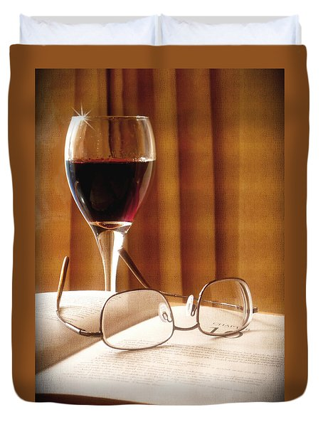 A Good Book And A Glass Of Wine Duvet Cover