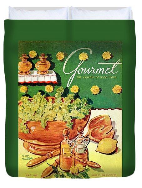 A Gourmet Cover Of Dandelion Salad Duvet Cover by Henry Stahlhut