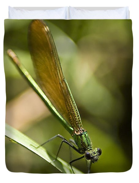 Duvet Cover featuring the photograph A Green Dragonfly by Stwayne Keubrick