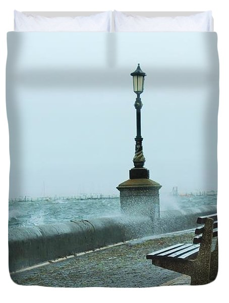 A Grey Wet Day By The Sea Duvet Cover