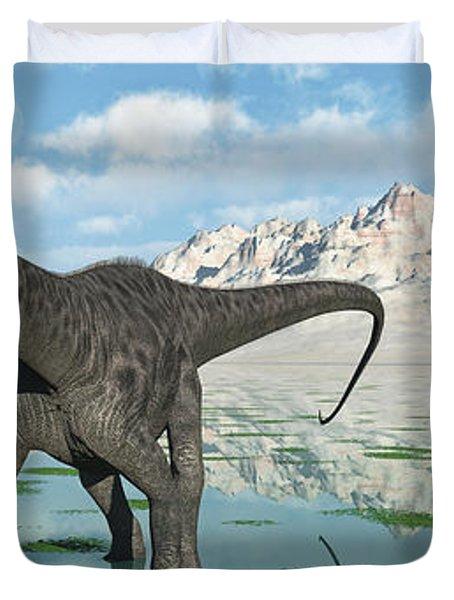 A Group Of Diplodocus Dinosaurs Grazing Duvet Cover by Mark Stevenson