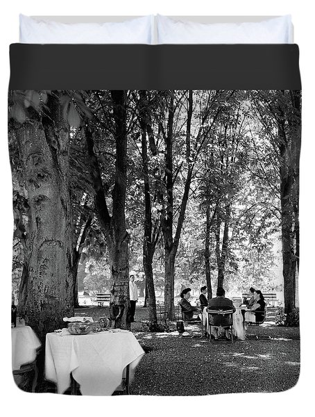 A Group Of People Eating Lunch Under Trees Duvet Cover