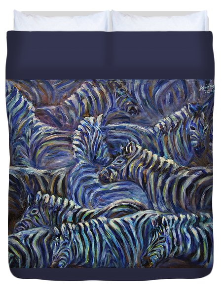 Duvet Cover featuring the painting A Group Of Zebras by Xueling Zou