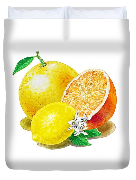 A Happy Citrus Bunch Grapefruit Lemon Orange Duvet Cover