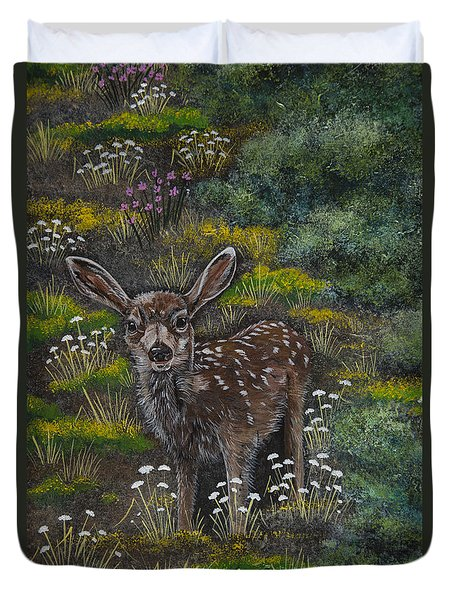 Duvet Cover featuring the painting A Happy Fawn by Jennifer Lake
