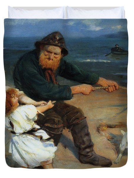 A Harbor Scene Duvet Cover by Arthur John Elsley