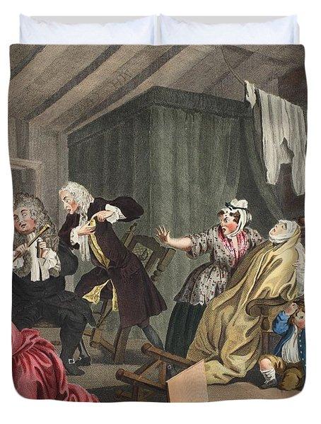 A Harlots Progress, Plate V Duvet Cover by William Hogarth