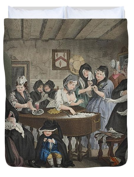 A Harlots Progress, Plate Vi Duvet Cover by William Hogarth