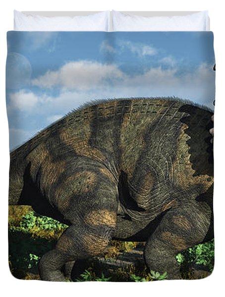 A Herd Of Albertaceratops Duvet Cover by Mark Stevenson