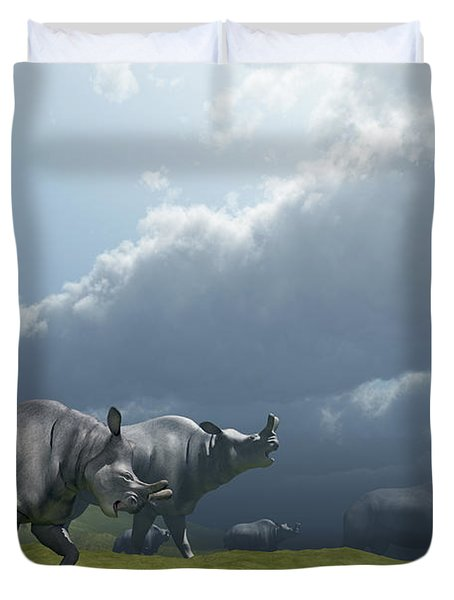 A Herd Of Brontotherium Dinosaurs Come Duvet Cover by Corey Ford