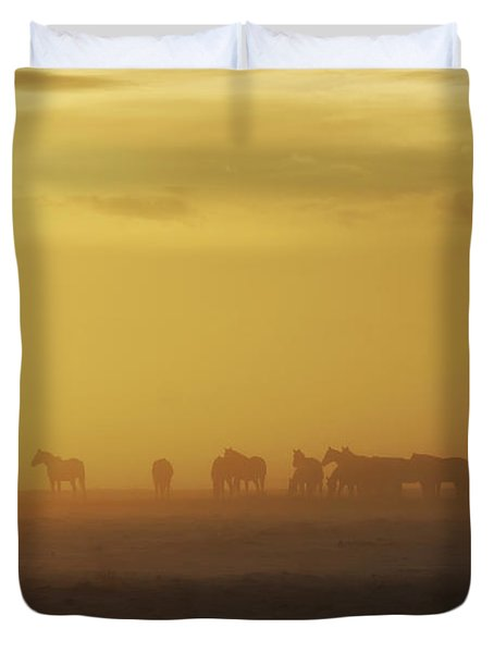A Herd Of Horses In The Morning Fog Duvet Cover by Roberta Murray