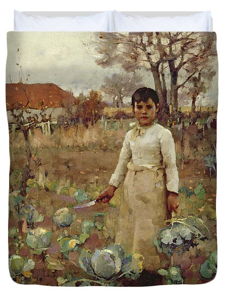 A Hinds Daughter, 1883 Oil On Canvas Duvet Cover by Sir James Guthrie