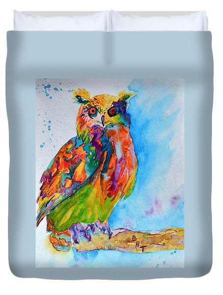 A Hootiful Moment In Time Duvet Cover by Beverley Harper Tinsley