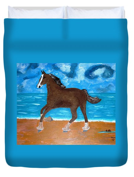 Duvet Cover featuring the painting A Horse On The Beach by Magdalena Frohnsdorff