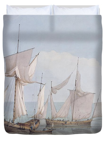 A Hoy And A Lugger With Other Shipping On A Calm Sea  Duvet Cover by John Thomas Serres
