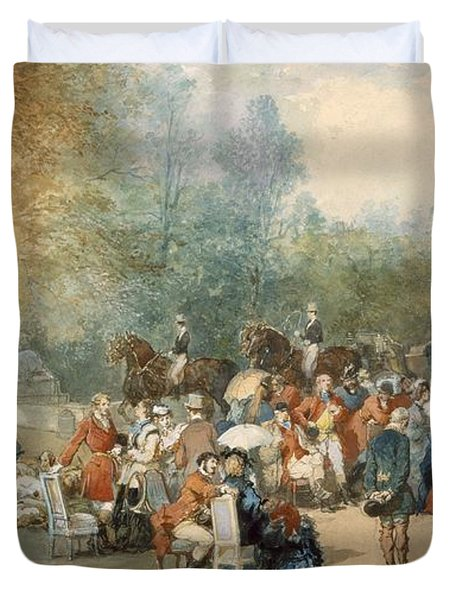 A Hunting Breakfast In England, 1870 Duvet Cover by Eugene-Louis Lami