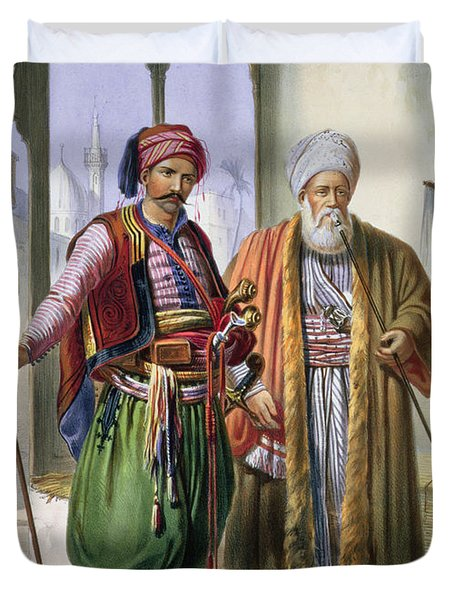 A Janissary And A Merchant In Cairo Duvet Cover