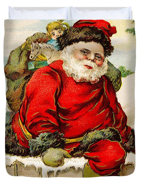 A Joyful Christmas Duvet Cover by Vintage Christmas Card
