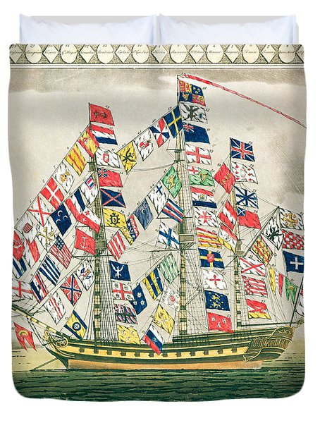 A King S Ship Dressed With The Colours Of Different Nations 6th October 1794 Duvet Cover by English School