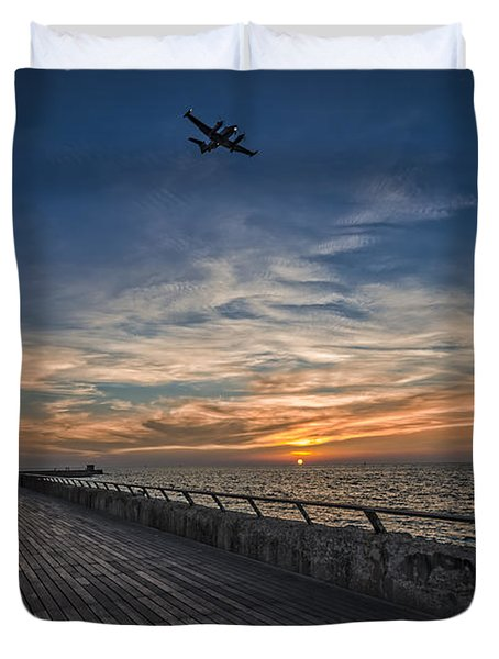 Duvet Cover featuring the photograph a kodak moment at the Tel Aviv port by Ron Shoshani